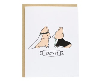 Tricolor Corgi Wedding Card, Wedding Card, Dog Wedding Card, Wedding, Engagement, Congrats, I do