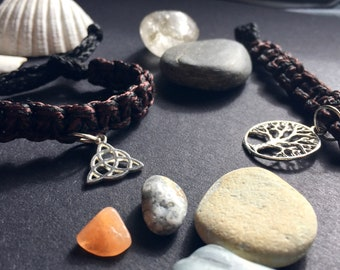 Brown and Black Cord Charm bracelet