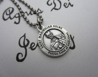 St Maximilian Kolbe Medal Necklace, Patron Saint for Addictions, Catholic Religious Gift