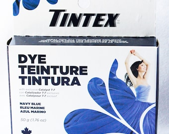 Tintex Fabric Dye For Washing Machine & Hand Dyeing, NAVY BLUE, 50g 1.76Oz, New Unopened, Dye powder fabric, batik, crafts, Made in Canada