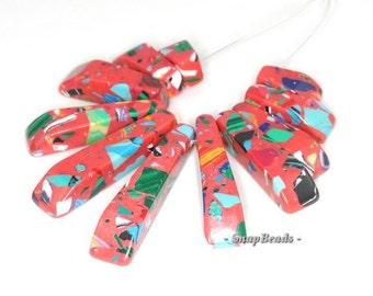 Matrix Turquoise Gemstone Mosaic Red Loose Beads Graduated Set 11 Beads (90114196-108)