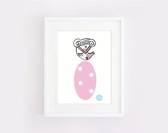 Quirky nursery art : bold black ink, pink, spots, A5