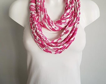 T shirt scarf, t shirt infinity scarf, loop scarf, fabric scarf, cotton fabric scarf, pink scarf, skinny scarf, thin scarf