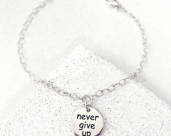 Inspirational Bracelet, Motivational, Never Give Up, Mantra Bracelet, Marathon Jewelry, Dainty Bracelet, Gift-for-Bestfriend, Bestie, BFF