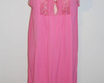 Vintage 1960's Pink Nightgown ~ Dark Pink Silky Nylon Nightgown  ~ Embroidered Bust Nightgown  ~Feminine  Nightgown ~ Pretty Pink Nightgown