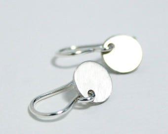 Minimalist Earrings, Sterling Silver Disk Earrings, Small Dangle Drop, Tiny Silver Dot, Handmade Jewelry, Delicate Dainty Gift for Women
