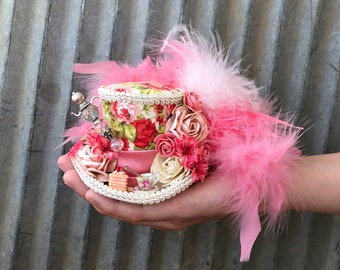Micro Mini Top Hat, Tea Cup hat, Antique ivory and Coral Flower Hat, Alice in Wonderland, Mad hatter hat, PInk Tea hat, Mad Tea Party Hat