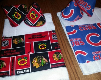 Sports theme baby burp cloths personalized baby shower gift cubs or blackhawks fabric trim personalized burp cloth and pee pee teepee sprinkler cover gift sets negle Choice Image