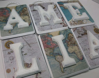 Old World Vintage Map on Stained plaques w Off White Shabby with Gray Letters 7x 9 - SOLD PER LETTER