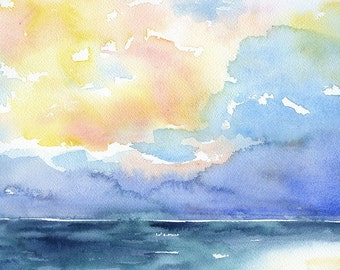 Seascape Watercolor Painting - 11 x 14 - Giclee Print