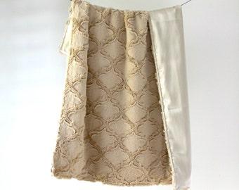 LUX Baby Blanket, Sand Minky with Sand Silky Satin Charmeuse
