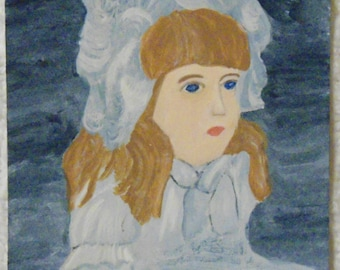 Victorian Girl Aceo Miniature Painting by MJH