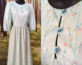 70s Spring Blue Dress / Mod Floral Print / Puff Sleeves