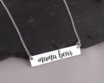 Mama Bear Bar Necklace - 925 Sterling Silver - Engraved Jewelry