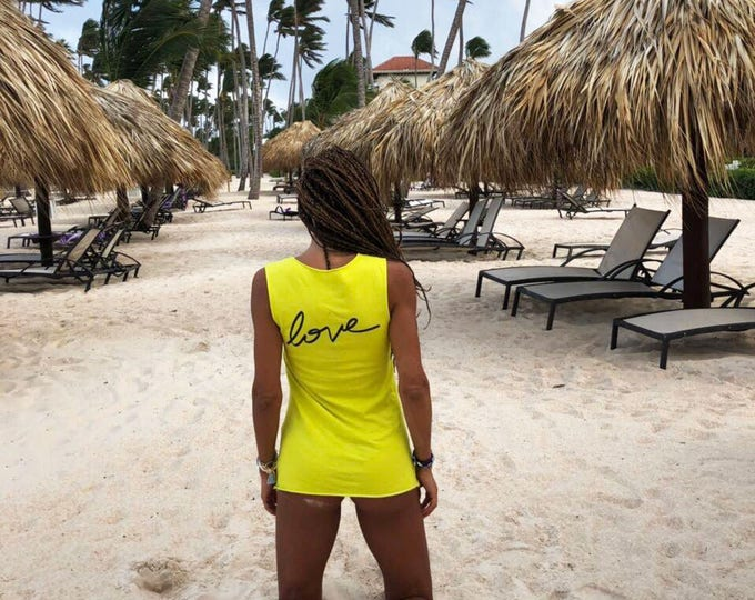 Extravagant Sleeveless Love Tank Top, Oversize Yellow Cotton Top, Sexy Casual Top, Maxi Top with Print by SSDfashion