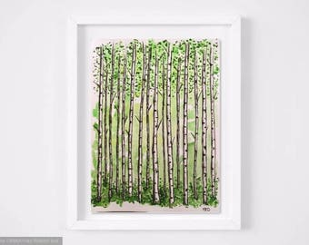 Watercolor Tree Birch trees aspen forest Sketch Green Summer tronc Leaves Forest Handmade Minimalist Modern