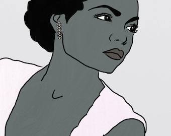 Art print of digital painting - Black and white digital print of Eartha Kitt, Eartha Kitt painting, Eartha Kitt HERstory
