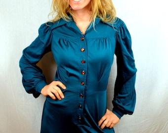 Vintage 70s Foxy Lady Green Secretary WOW Foxy Lady Dress