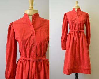 1970s Leslie Fay Red Ultrasuede Dress