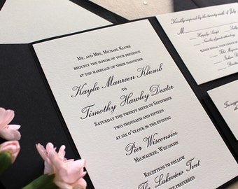 The Orchid Suite - Classic Letterpress Wedding Invitation Sample Black, White, pocket enclosure, Formal, Simple, Traditional, Vintage, Ivory