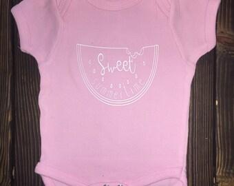 Sweet Summertime Watermelon baby onesie/toddler tee