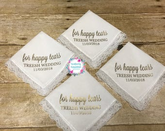For Happy Tears Handkerchief | Personalized Handkerchief | Wedding Party Gift | Mother of Bride Gift | Father of Bride Gift | Wedding Hanky