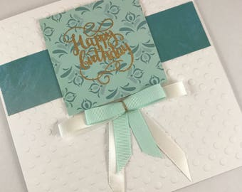 Happy birthday, heat embossed, embossed paper, teal and white, duck egg