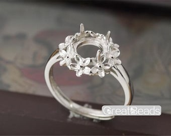 Ring Setting for 8mm Round Cabochons White Gold Plated 925 Silver Adjustable Band Ring Blank JZ012