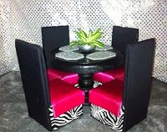 Doll Furniture Playscale / 1:6 Scale Dining Table & Chairs - Customized Option for Barbie / Monster High...