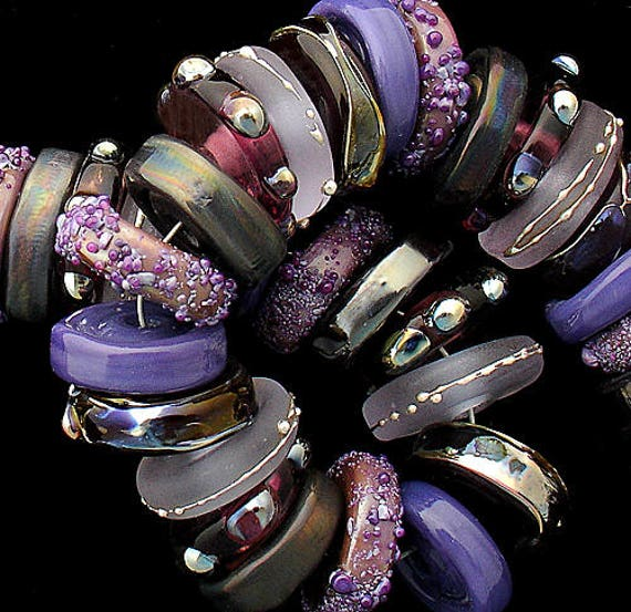 Glass Beads Lampwork Beads Handmade Lampwork For Jewelry Supplies Purple Beads Disc Beads For Jewelry Bracelet Beads Organic Debbie Sanders