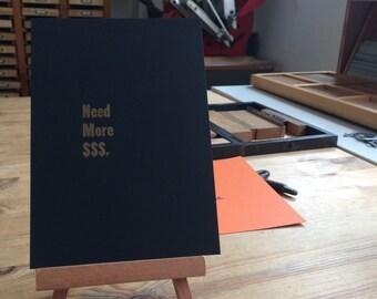 Letterpress typeset card - need more money