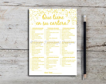 What's In Your Purse, Spanish Baby Shower Game, Shower Game, Gold Confetti, Gold baby shower, Neutral, Printable, Instant Download T712C