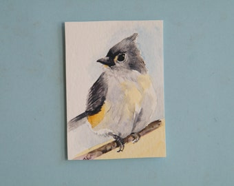 Tufted Titmouse,  original watercolor painting,  aceo sized