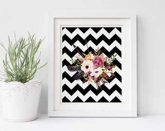 PRINTABLE Art Watercolor Pink Floral Black and White Chevron Floral Floral Art Print Floral Wall Art Nursery Decor Pink and Peach Floral