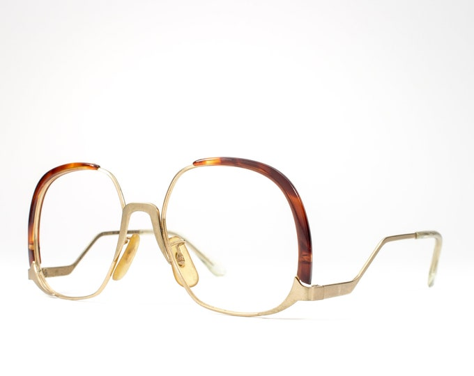 Vintage Eyeglasses | 70s Glasses | 1970s Oversized Glasses Frames | Gold Eyeglass Frame with Tortoise Accent - Summer