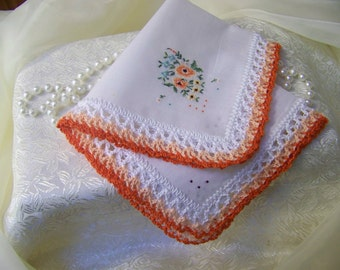 Ladies Embroidered Handkerchief, Crochet Hanky, Bright, Lace, Custom Embroidered Hanky, Monogrammed, Floral, Peach, Ready to ship