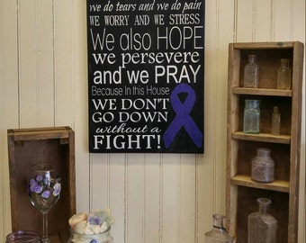 In this House We Do Cystic Fibrosis. Painted Purple Ribbon Awareness Sign, CF Encouragement Gift, Just Breathe Inspirational Wall Plaque
