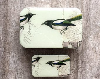 Magpie tin LARGE,  Notions tin, treasure box, jewellery box
