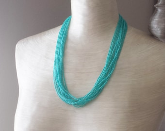 Translucent turquoise necklace, shimmery green necklace, teal, statement necklace, boho, multistrand,beaded necklace, aqua necklace, teal
