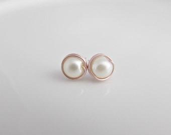 Rose Gold Pearl Earrings, Pearl Earrings, Wrapped Pearl Earrings, Bridesmaid Gifts, UK Seller, Girl Gifts, Pearl Post Earrings, Pearl Studs