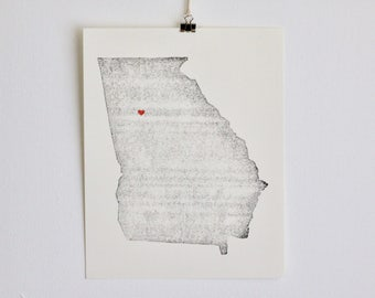 "Georgia State Map Print / 8"" x 10"" / Unframed / Custom / Travel / Art / Chic / Modern / Rustic / Heart / Love / Home / Wedding / Gift"