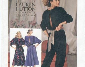 Open Back Jumpsuit or Dress Sewing Pattern Size 6 8 10 Simplicity 6642 UNCUT, Elastic Waist, Side Pockets, Belt, Dolman Sleeve, Tapered Leg