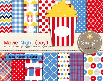 Movie Boy Digital Paper and Clipart Popcorn, CD, reel, ticket, Theater, Cinema for Blue Movie Night Birthday, Digital Scrapbooking