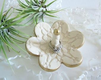Porcelain Ring holder, ring dish, home decor, kitchen storage, white with gold rim dish