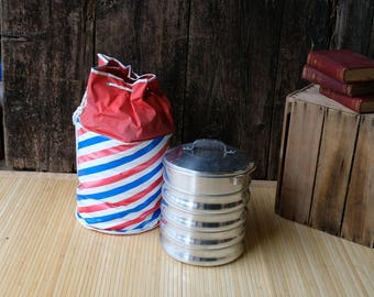 Picnic Pack 1960s, Regal Aluminum Carry Picnic Unit, MCM, Red, White, Blue Striped Bag, Camping, picnic, Glamping, 5 Plates, Lid, Carry Bag