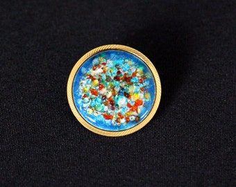Blue round brooch with trombone closure * FREE SHIPPING *