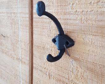 Rustic hook, primitive hook, black hook, coat hook, entryway hook, key holder, key hook, cabin decor, farmhouse hook, cast iron hook, metal