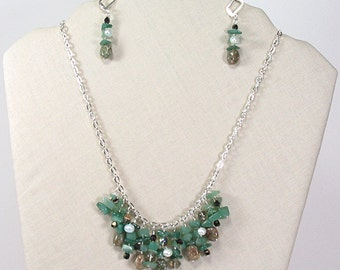 Aventurine Falls Sterling Silver Necklace and Earrings Set, Aventurine Stone Jewelry Set, Bib Necklace, Statement Necklace