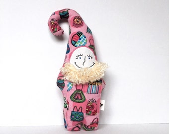 gnome doll, stuffed animal, elf doll, fabric doll, handmade one of a kind doll, gnome toy, gift for child, purse fabric