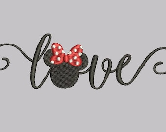 Disney Minnie Mouse Head Ears Love Heart Design Embroidery Walt Disney World Fill Machine Instant Download Digital File EN2101F4B